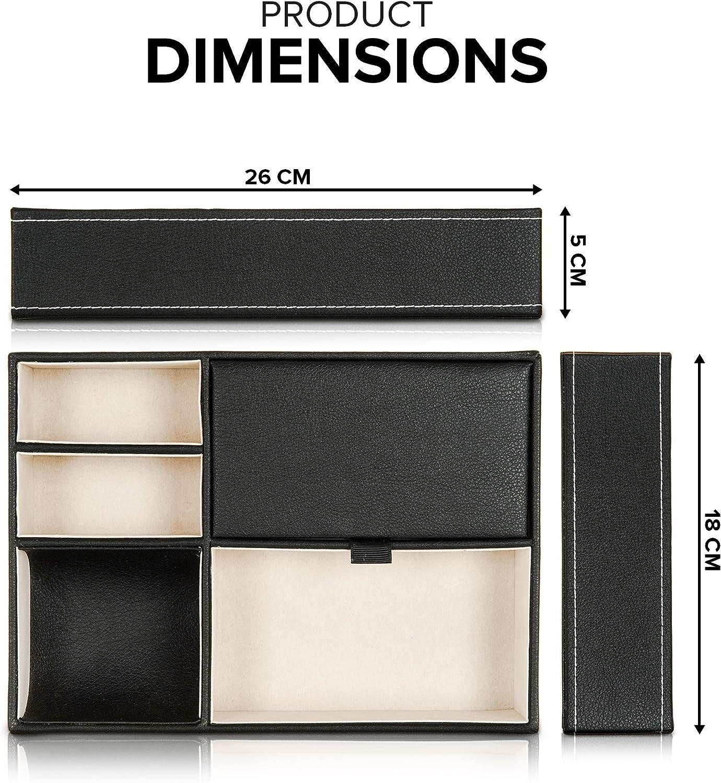 monedas llaves y relojes de joyer/ía Fineway carteras Caja organizadora de almacenamiento de 5 compartimentos de piel para hombre relojes ideal para tel/éfonos m/óviles