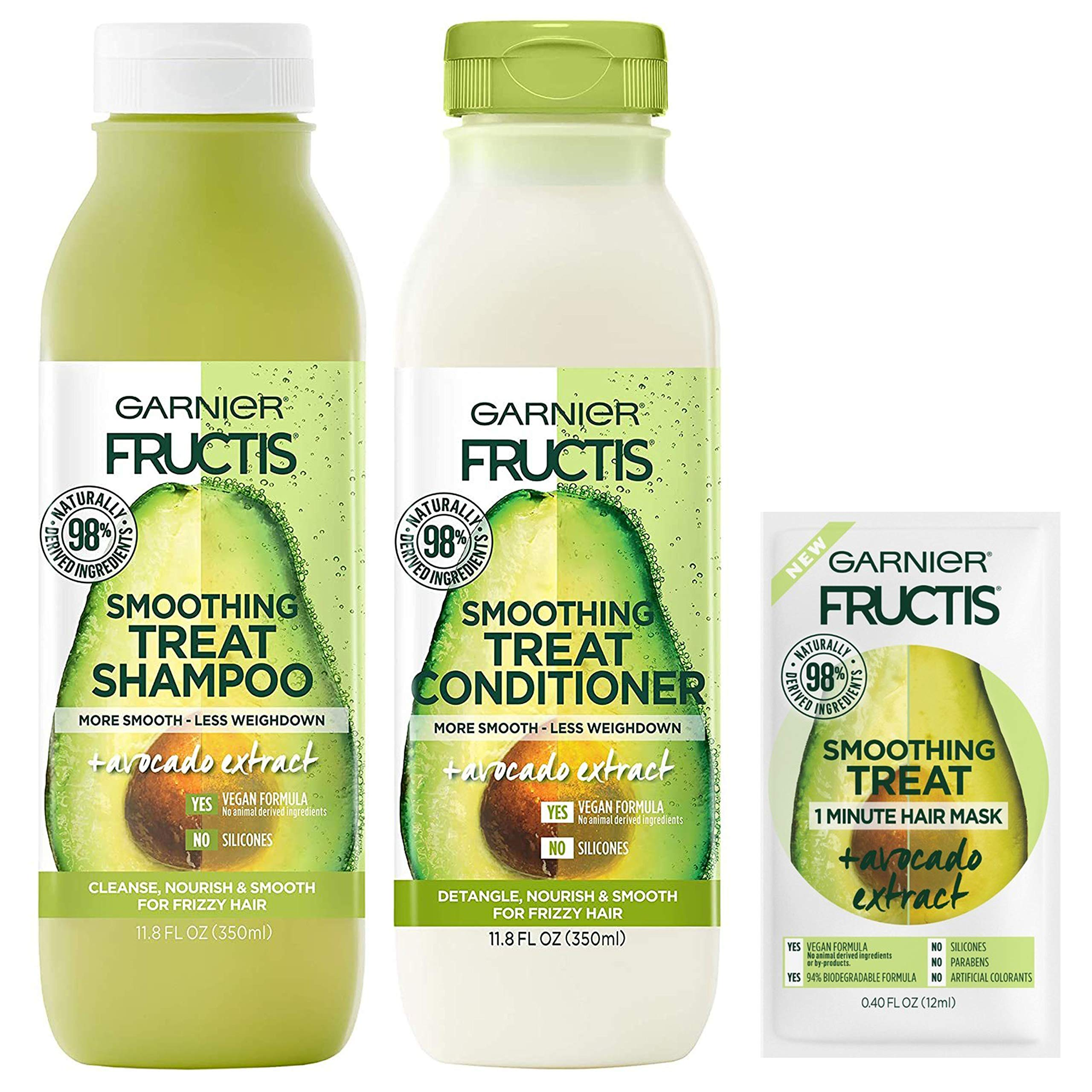 Garnier Haircare Fructis Smoothing Treat Shampoo and Conditioner, 98 Percent Naturally Derived Ingredients, Avocado, Frizzy Hair, W/Mask Sample, 1 Kit (Packaging May Vary)