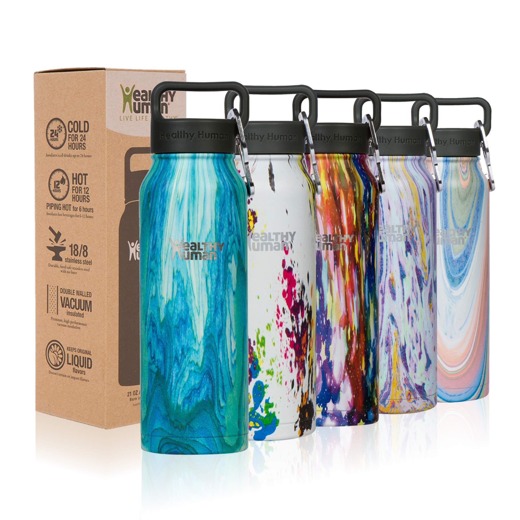 Healthy Human Designer Collection Insulated Stainless Steel Water Bottle Stein - Cold 24 Hours/Hot 12 Hours - Double Walled Vacuum Flask - 21 oz Bora Bora