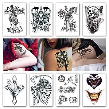 db32de41c8533 Kotbs 8 Sheets Temporary Tattoos Crown Skull Scythe Death Waterproof  Temporary Tattoo Sticker for Women Men Flash Tattoos Body Art Arm Fake  Tatoo: ...