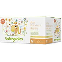Babyganics Ultra Absorbent Diapers, Size 5, 88 Count