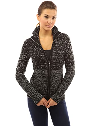 PattyBoutik Women's Mock Neck Marled Zip Up Cardigan at Amazon ...
