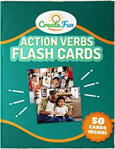 CreateFun Action Verbs Flash Cards - 50 Vocabulary Builder Educational Photo Cards - with 6 Teaching Activities for Parents, Classrooms, Speech Therapy Materials, ELL and ESL Teaching Materials