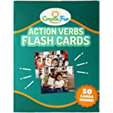CreateFun Action Verbs Flash Cards - 50 Vocabulary Builder Educational Photo Cards - with 6 Teaching Activities for Parents,