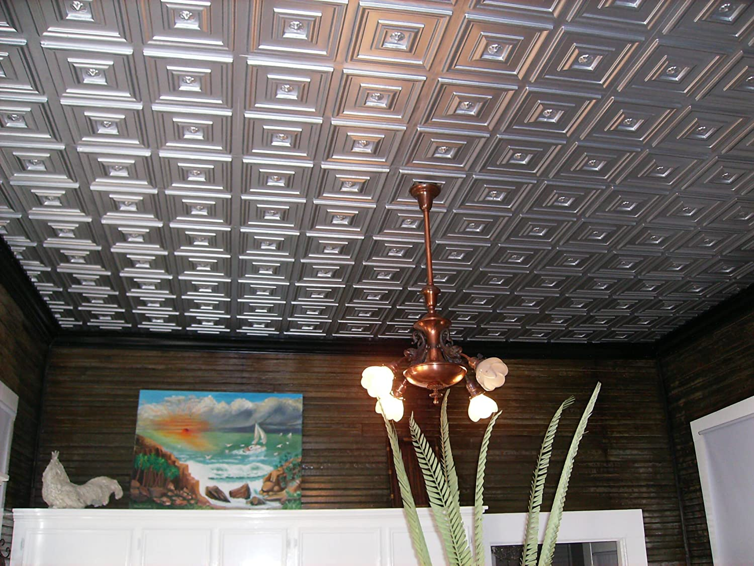 Amazon Cheap Discounted Modern Plastic Ceiling Tile Nickel
