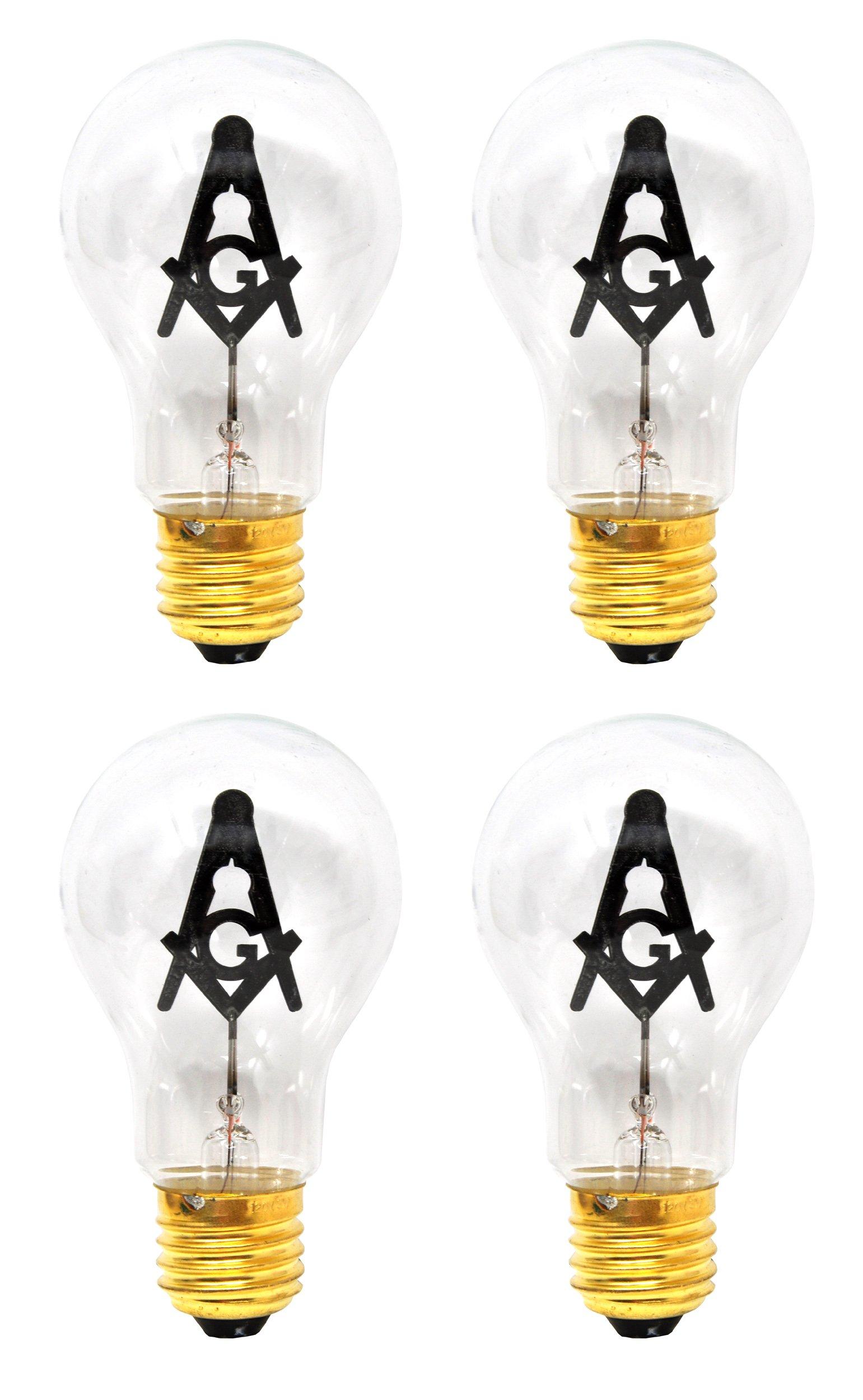 Mandala Crafts E27 3W Freemason Masonic Square and Compasses Emblem Symbol Altar Decor Lodge Light Bulb (Standard Base, 4 Bulbs)