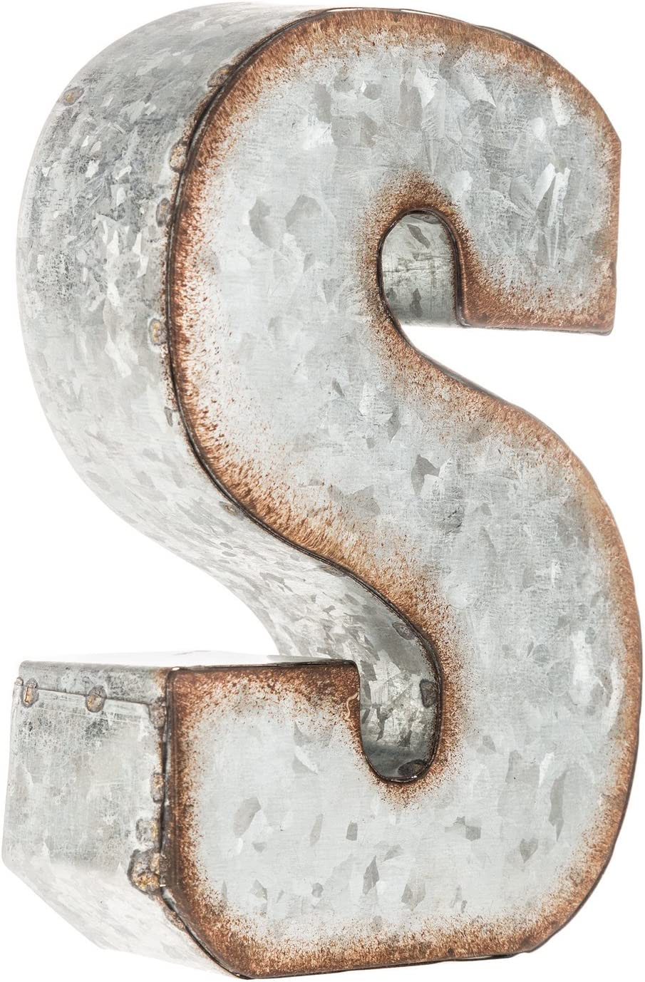 Generic Galvanized Metal 3D Letter S,Gray Metal