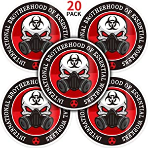 20 Pieces Essential Worker Hard Hat Sticker Pack, 2.4 Inch Nuclear Pattern Red Toxic Hazard Decals Helmet Sticker Full Color Printed for Hard Hat, Helmet, Windows, Walls, Bumpers, Laptop, Lockers