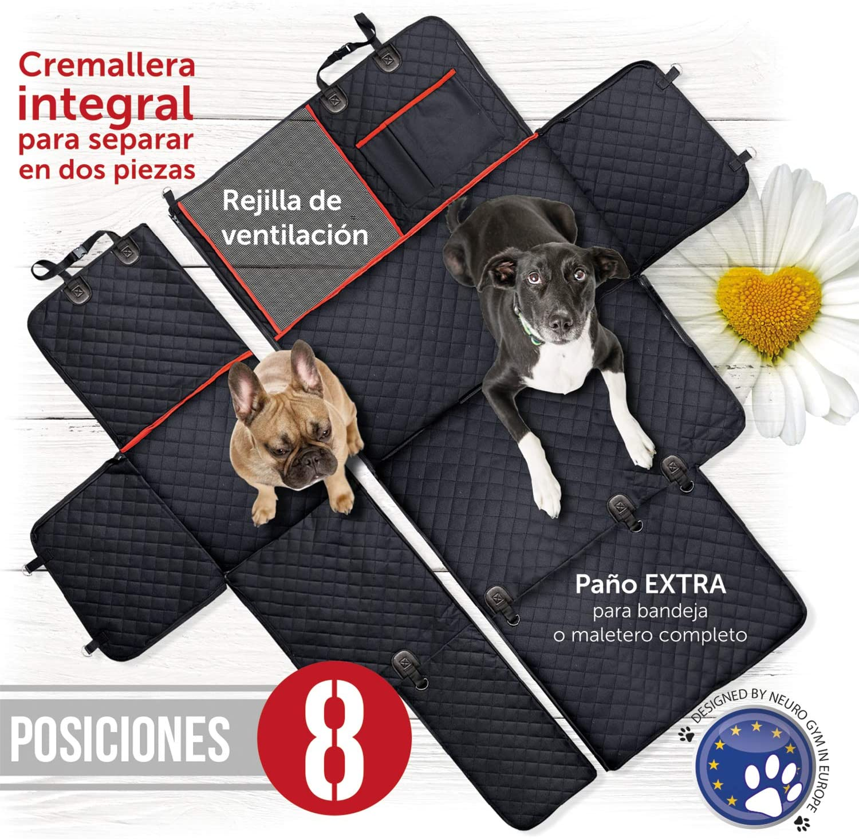 Funda cubreasientos para perro   Protector universal impermeable de mascotas para asiento trasero y maletero de coche   Cubierta asiento acolchada con rejilla para que tu perro viaje en primera clase