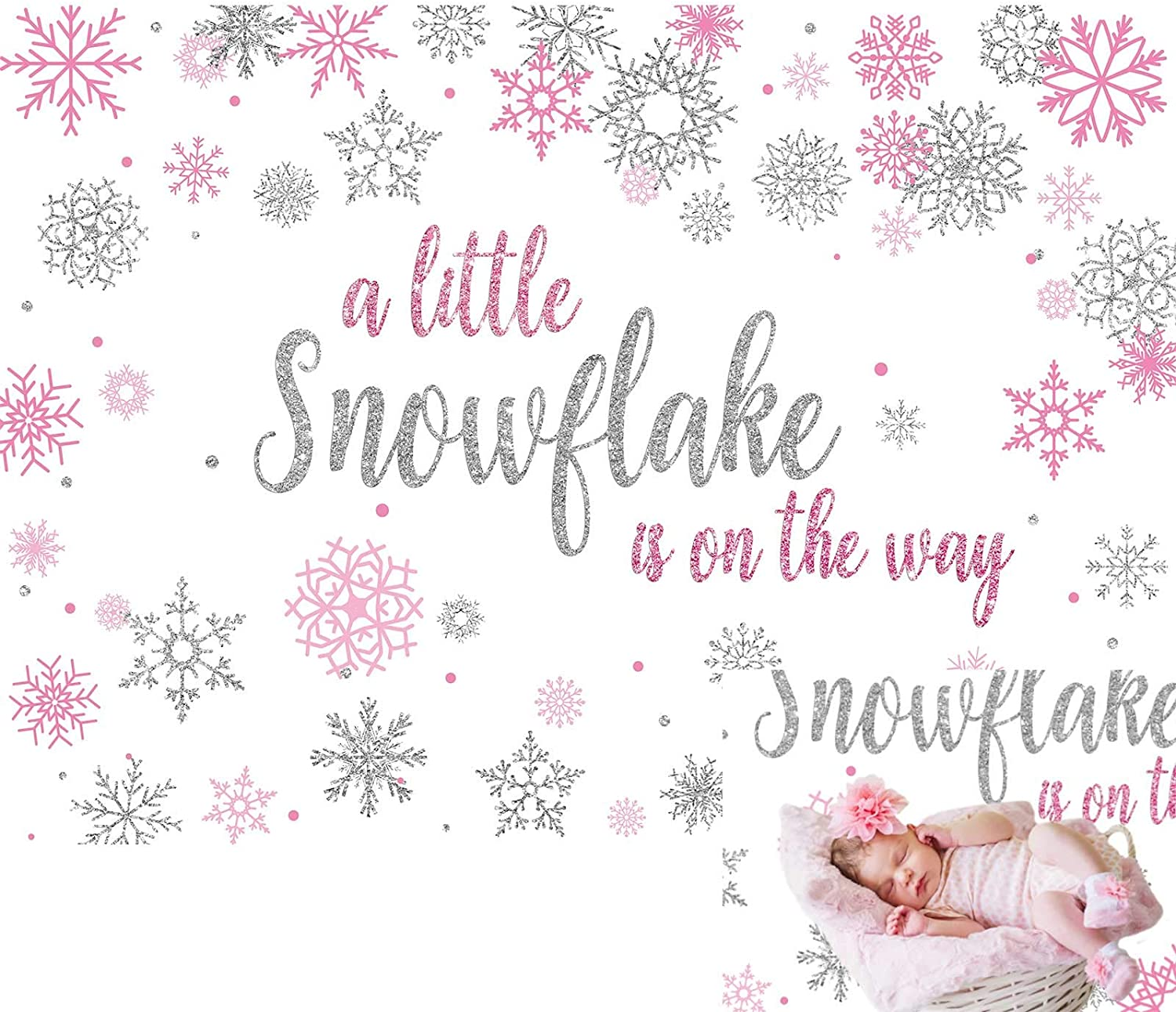 Allenjoy 7x5ft Winter Baby Shower Backdrop Little Snowflake Princess Girl is On The Way Photography Background for Kids Children Birthday Welcome Party Cake Table Decor Banner Photo Studio Booth Props