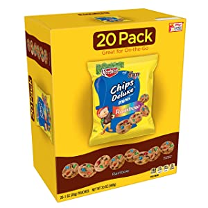 Keebler Chips Deluxe, Mini Cookies, Rainbow, with M&M's Mini Chocolate Candies, (20 Count of 1 Oz Pouches) 20 Oz