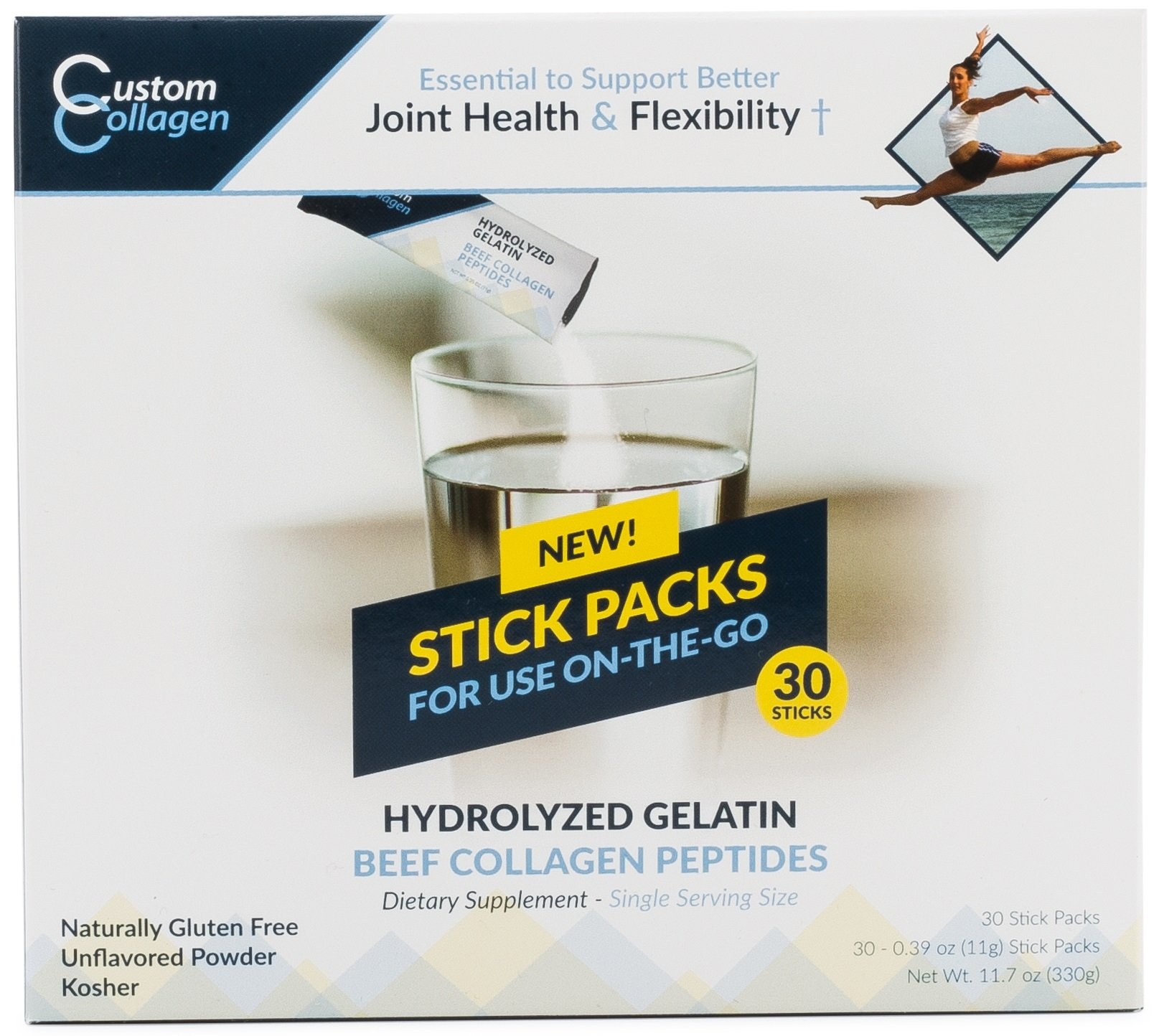 Collagen Peptides | Hydrolyzed Gelatin 30 Count Stick Packs - CLEAN COLLAGEN® -Pasture Raised - Grass Fed - Paleo - Non GMO - Highly Soluble - Kosher - Unflavored Powder