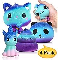 Amteker 4 Pièces Desire Deluxe Squishy Kawaii Squishies Pack - Soft Geant Galaxy Animal Anti Stress Jouets pour Garçons et Filles (Licorne Donut + Chat + Panda + Caca)