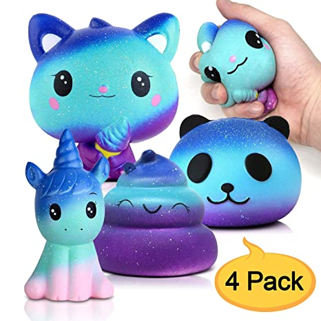 Amteker 4 Pack Galaxy Kawaii Squishy , Grandes Animales Squishy Juguete Gigante Jumbo Squishy Slow Rising Perfumado Squishes, Muñecos Antiestres ...