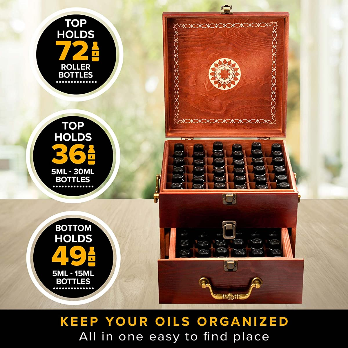 Beautiful 2 Tier Essential Oil Storage Box Organizer with 2 Carry Handles Holds 85 5-30ml & 10ml Roller Bottles (Space for 2oz 4oz Bottles) - Free Bottle Opener & 192 Essential Oil Labels