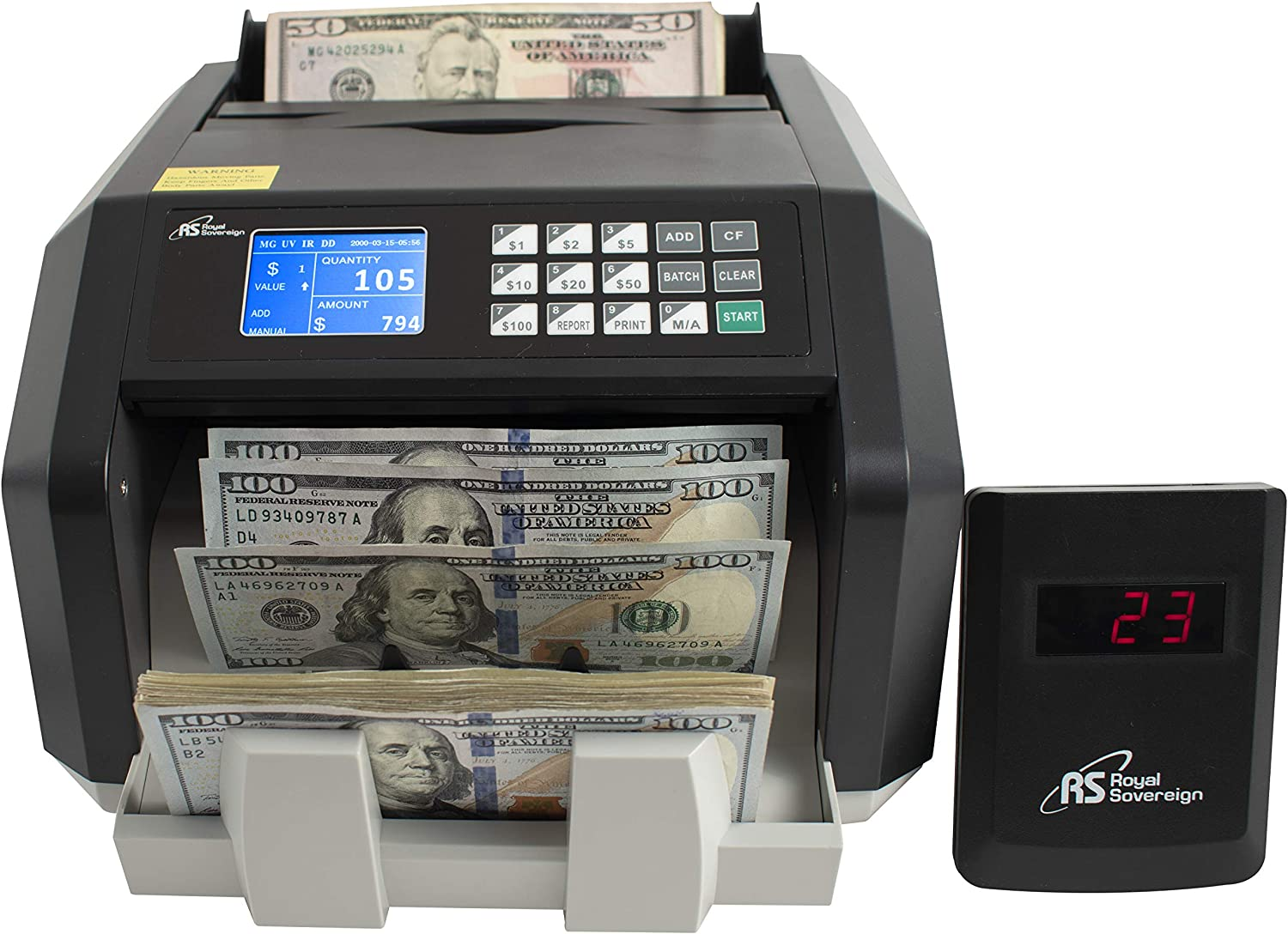 Royal Sovereign High Speed Money Counting Machine, with UV, MG, IR Counterfeit Bill Detector & Value Counting (RBC-ES250)