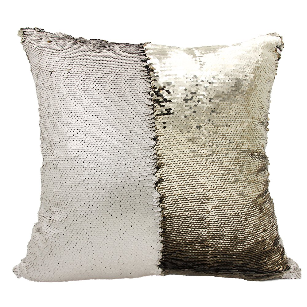 White//Silver Personalized Mermaid Reversible Sequin Pillow Custom Unicorn Sequin Pillow