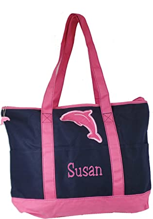 DOLPHIN CUSTOM MADE WITH NAME LARGE ZIPPERED TOTE RED GREEN BLUE PINK PURPLE