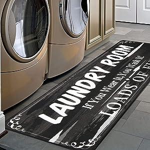 HEBE Farmhouse Laundry Runner Rug 2'x6' Washable Non Slip Kitchen Floor Mat Washhouse Rugs Extra Long Printed Rug Runner Floor Carpet for Laundry Room Kitchen,Black
