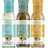 Primal Kitchen Avocado Oil 3 Pack Vinaigrette Dressing & Marinade (Ranch, Greek, Honey Mustard, 3 Count)