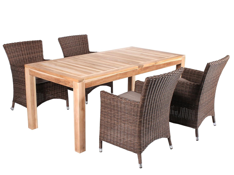 5tlg. Teak u. Polyrattan Sitzgruppe Burano Essgruppe Braun inkl. Sitzkissen, Tisch 180 cm