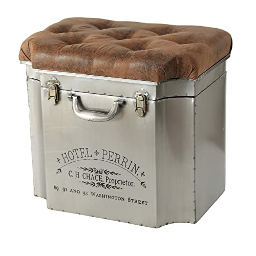 WHW Whole House Worlds Traveler Steamer Trunk, Storage Ottoman, Lift up Cozy Cushion Top, Faux Brown Leather Tufted Top, Rubbed Iron with Vintage Detailing, 20 1 2 L x 14 1 2 W x 18 1 2 H Inches