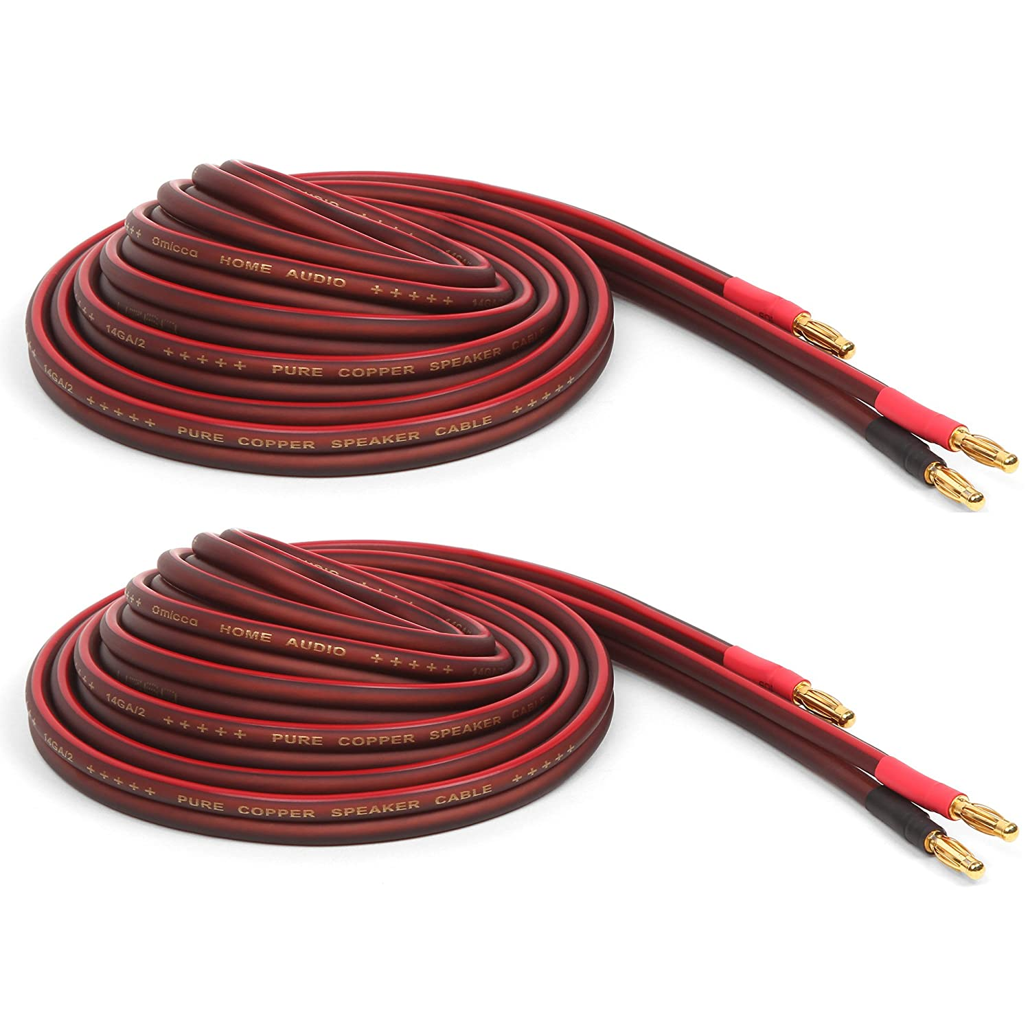 Micca Pure Copper Speaker Wire with Gold Plated Banana Plugs, 14AWG, 6 Feet (2 Meter), Pair SW-14-2M-P