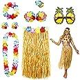 Phogary 8 Pack Hula Skirt Costume Accessory Kit for Hawaii Luau Party - Dancing Hula with Flower Bikini Top, Hawaiian Lei