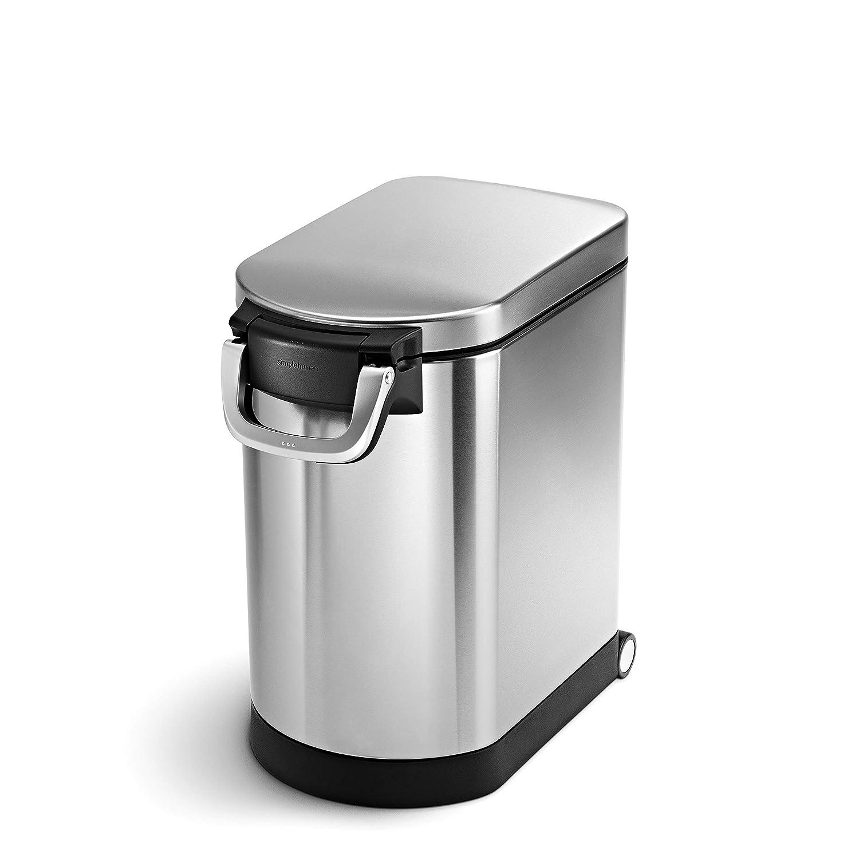simplehuman 25 Liter, 27lb / 12.2 kg Medium Pet Food Storage Can, Brushed Stainless Steel