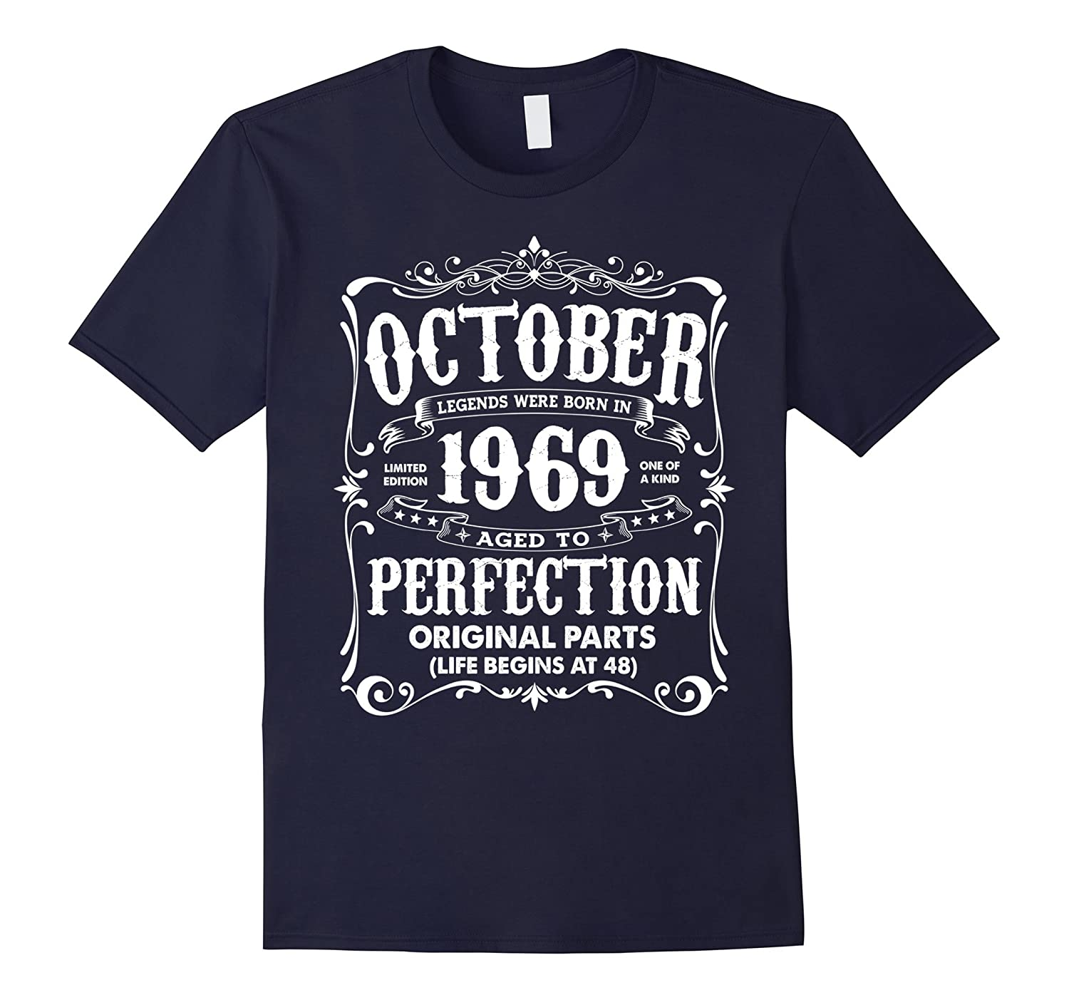 Vintage Legends Born In October 1969 Birthday T-Shirt-FL