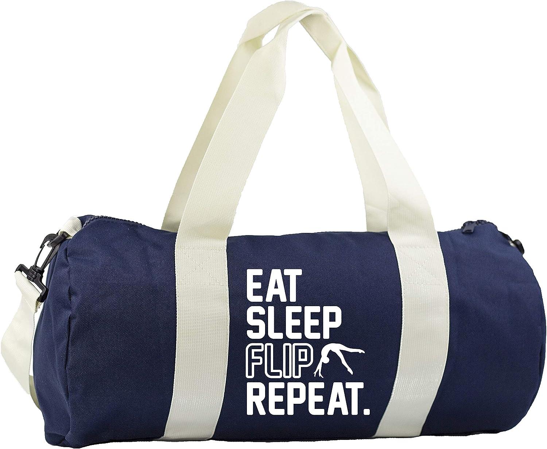 Hippowarehouse Eat Sleep Flip Repeat Gymnastics Gymnast Gymwear Gym Duffle Cylinder Uniform Kit Bag 50 x 25 x 25cm 20 litres