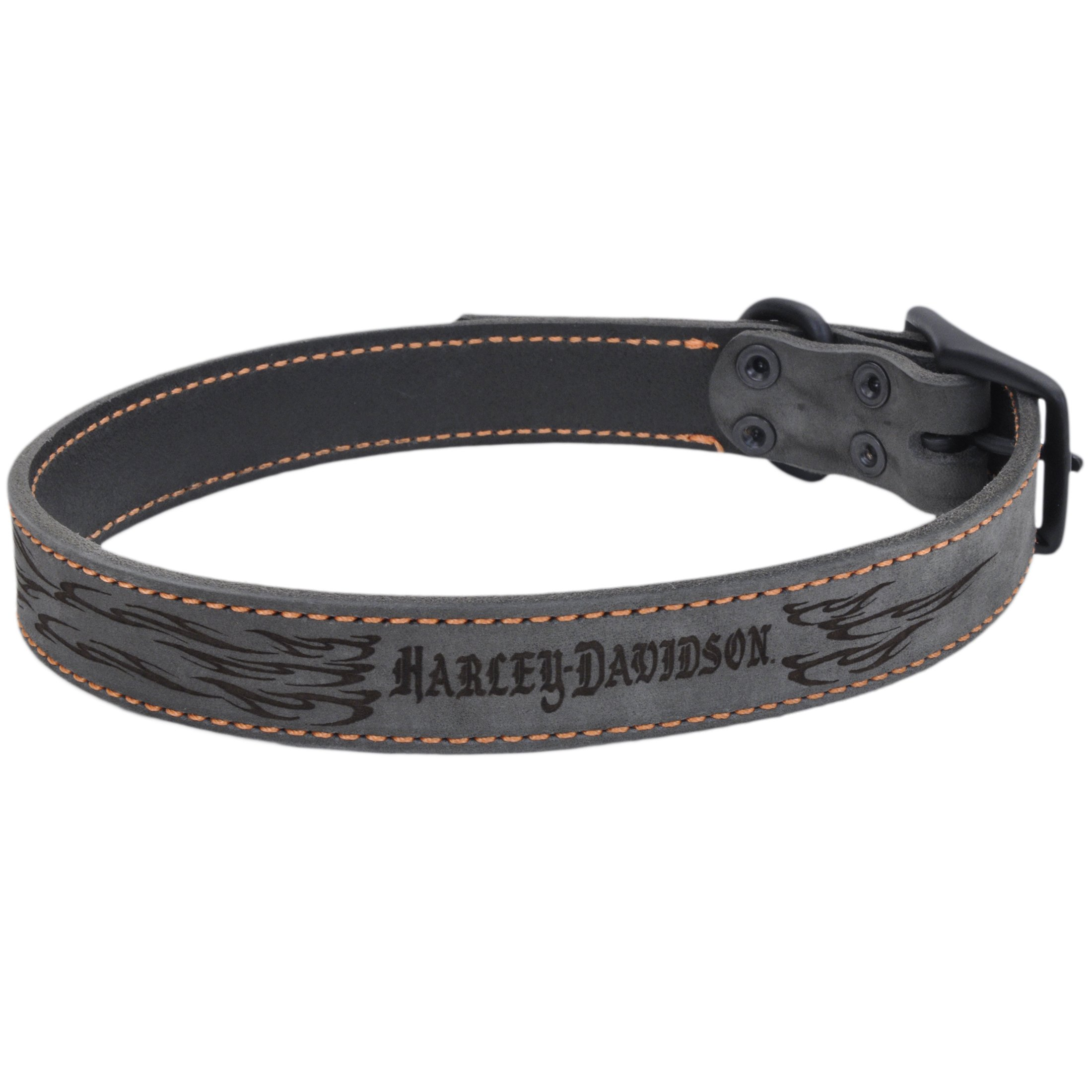 Harley Davidson Lasered Flame Rustic Leather Dog Collar | 1'' Width by 19'' to 22'' Girth by Harley-Davidson