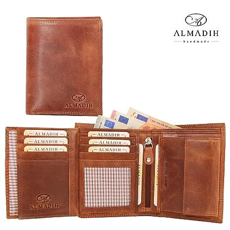 d1e5100eb764b ALMADIH ® Portemonnaie Hochformat Premium Rindsleder - 17 Kartenfächer mit  Geschenkbox (P2H BT-V