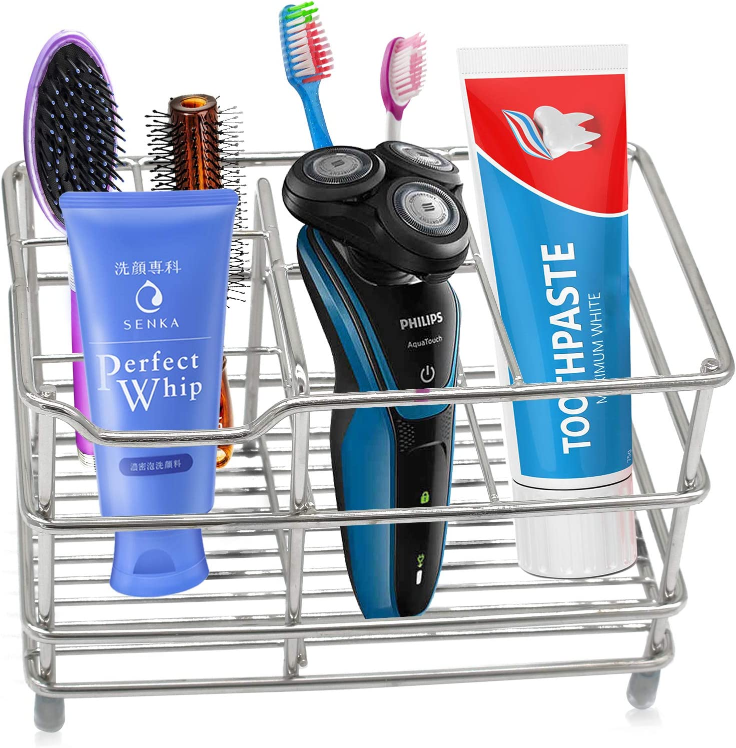 Electric Toothbrush Holder Toothpaste Holder Stand,Stainless Steel Bathroom Storage Organizer Stand Rack Multi Functional 6 Slots for Large Powered