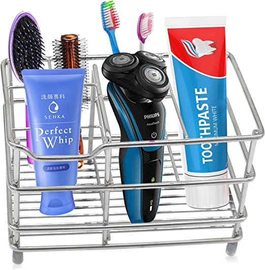 Razor USA Stainless Steel Bathroom Toothbrush Holder for Power Toothbrush Comb