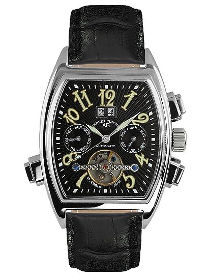 André Belfort 410003 - Reloj analógico de caballero automático con correa de piel negra - sumergible a 50 metros: Amazon.es: Relojes