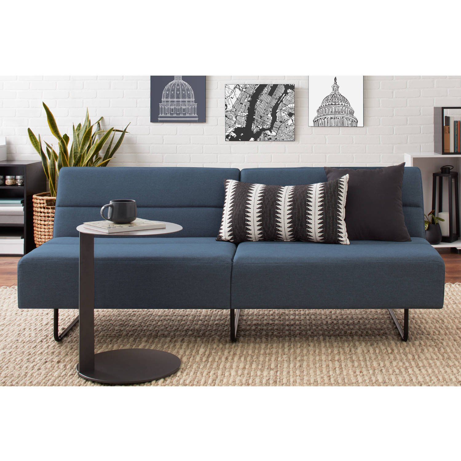 Blue faux leather futon sofa bed modern piece of furniture fully upholstered powder coated steel legs convertible sofa into sleeper bundle with our