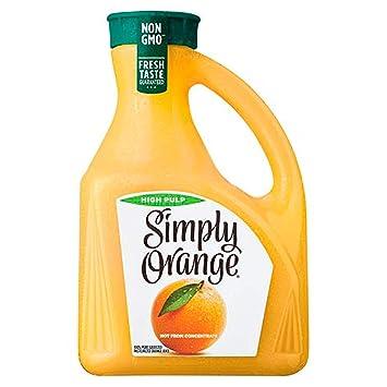 Simply Orange Juice, 89 fl oz, 100% Juice, High Pulp, Not ...