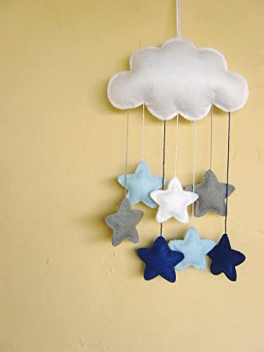 White Felt Cloud Baby Nursery Mobile With Grey And Blue Stars