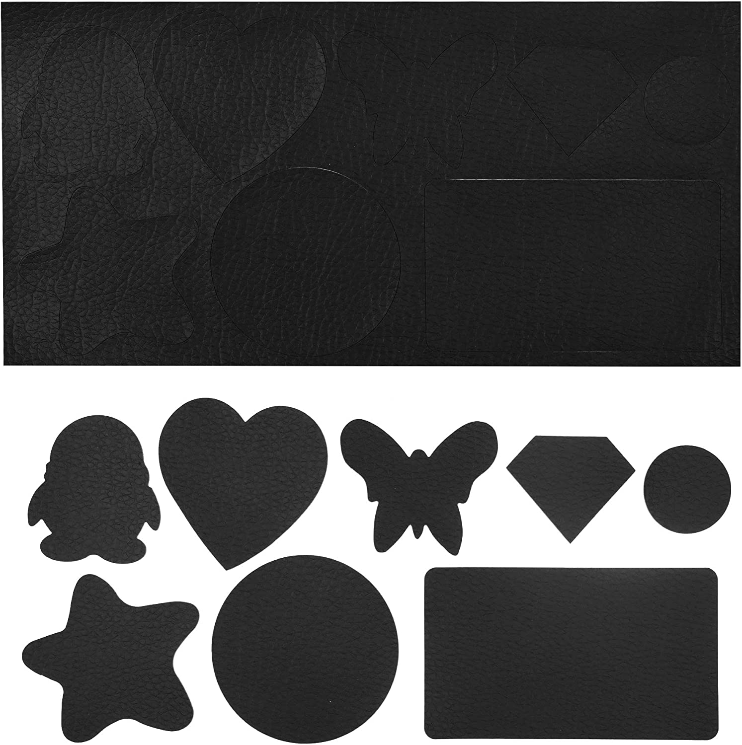 Genuine Leather Repair Patches Kit(8 Different Patterns)-Self Adhesive Leather to Repair Furniture, Couch, Sofa, Jacket - Multiple Shapes Available,Wide Uses, Safe Odorless, Fast Drying (Black)