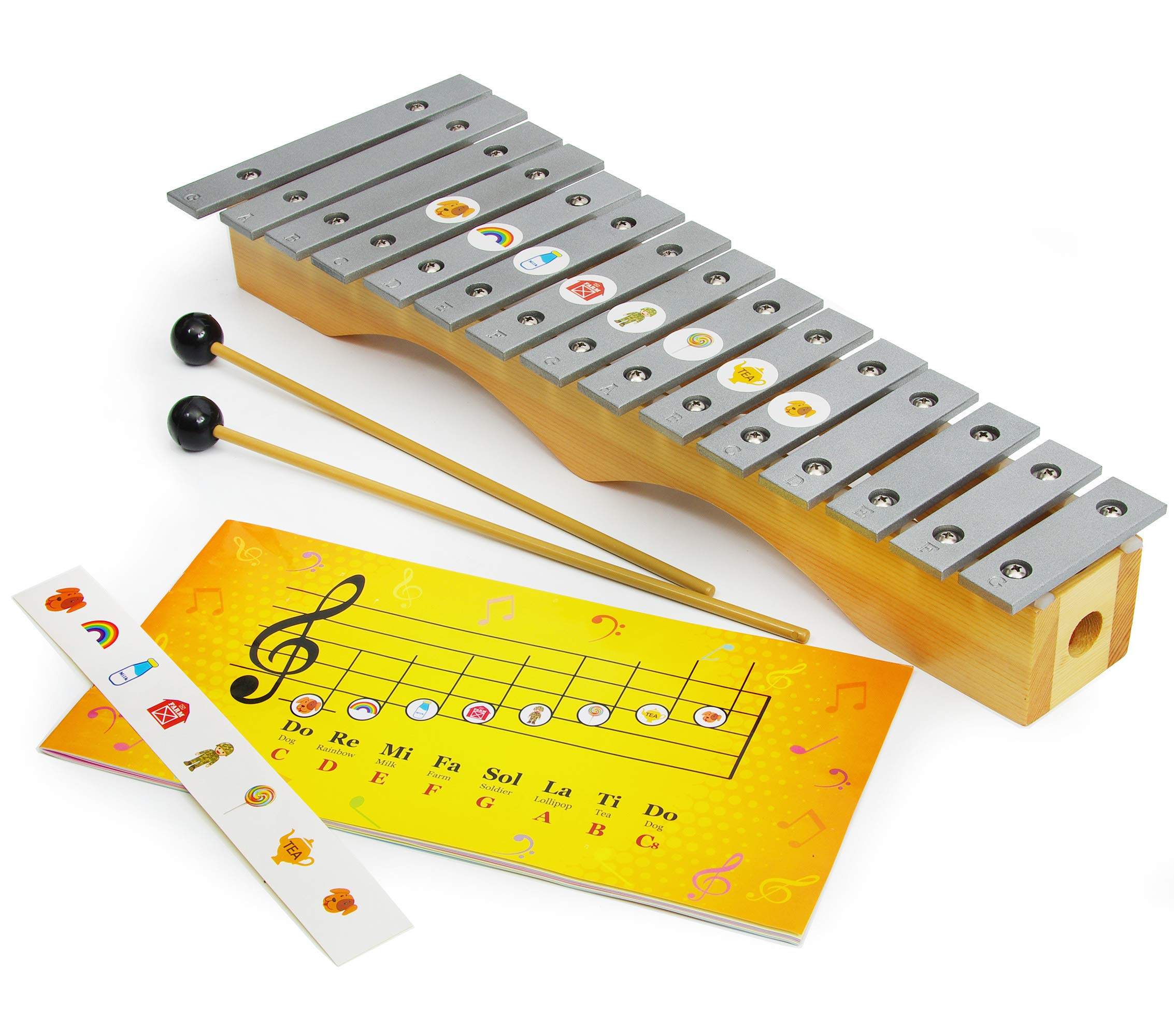 Glockenspiel Xylophone 15 notes - Kids Sheet Music Book - 34 Easy Play Songs Included by inTemenos