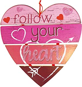 Valentine's Day Decorations for The Home Pink Heart Shaped Wooden Sign 12