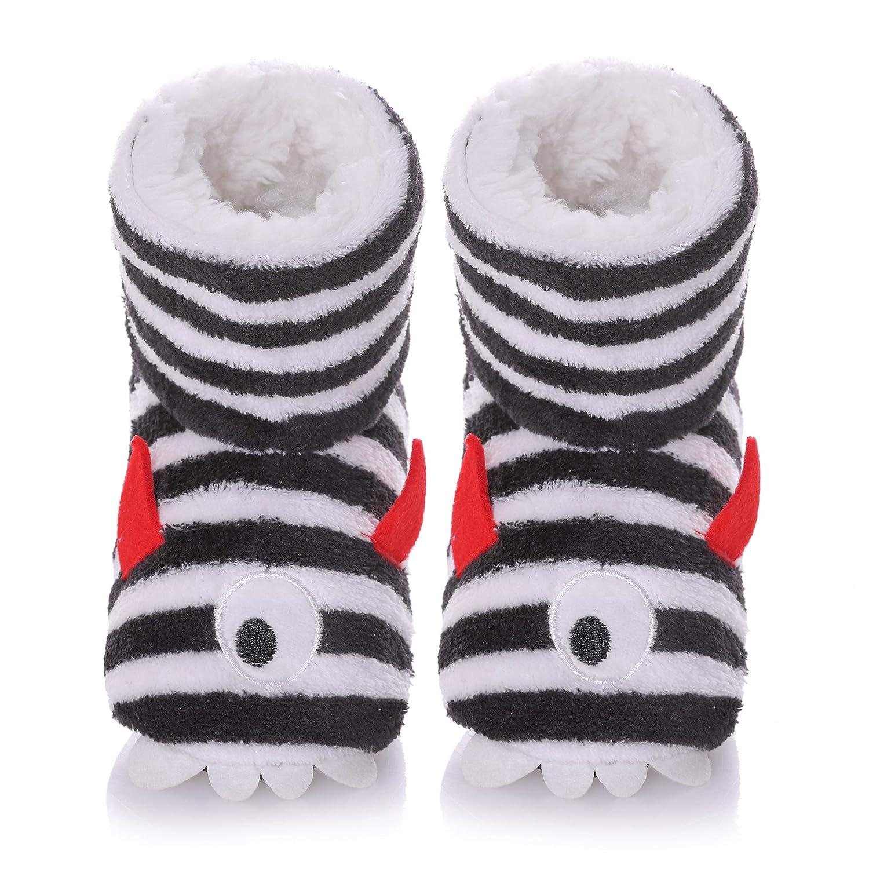 SCOWAY Kids Girls Boys Slippers Cute Cartoon Super Soft Warm Plush Lining Non-Slip House Shoes Winter Boot Socks