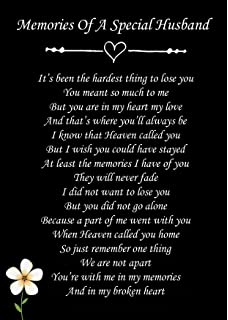 In Loving Memory Of My Dear Husband Wallet Card Keepsake Grave Poem
