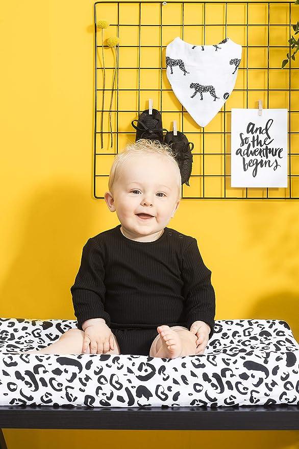 Jollein - Funda para colchón cambiador, 50 x 70 cm, diseño de leopardo, 50 x 70 cm, funda para cambiador, 50 x 70 cm, diseño de camiseta de leopardo, ...