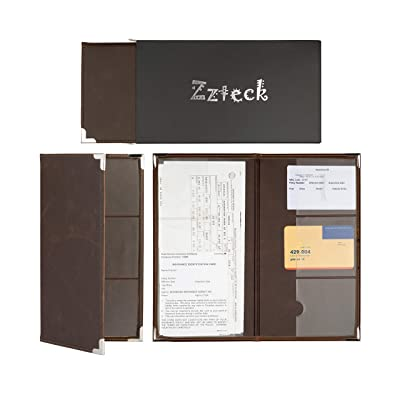 Zzteck Car Registration Holder for Insurance Card Documents Auto Organizer Luxury BN PU Leather Wallet Case: Automotive