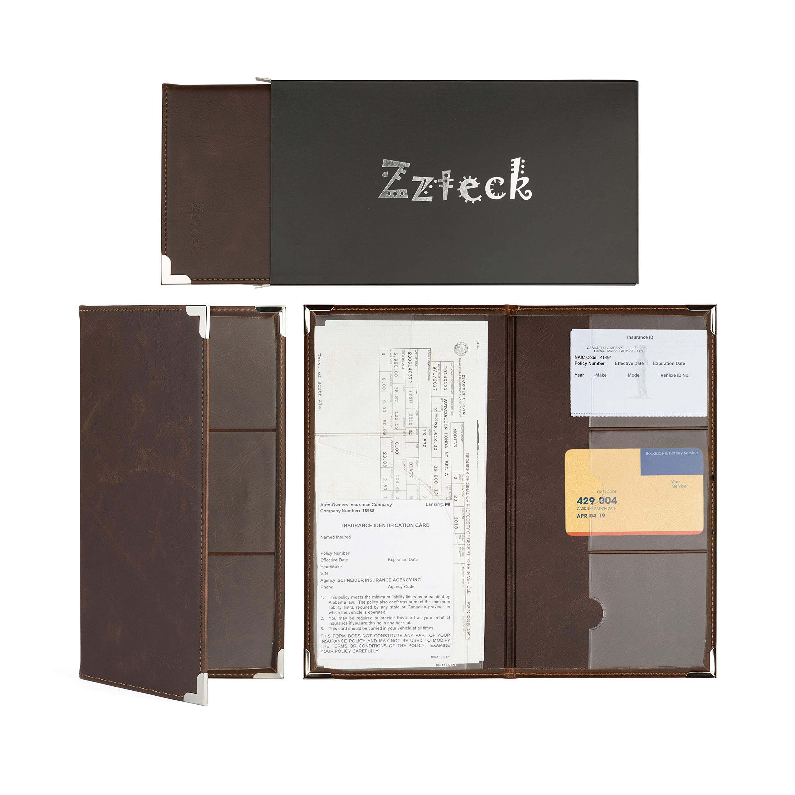 Zzteck Car Registration Holder for Insurance Card Documents Auto Organizer Luxury PU Leather Wallet Case by Zzteck