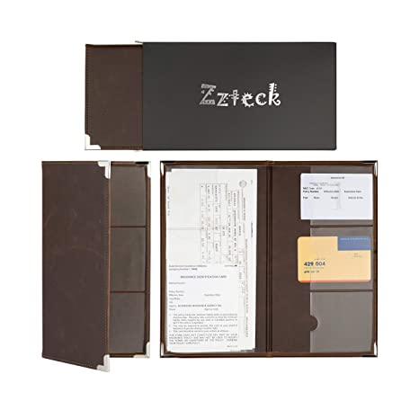 Zzteck Car Registration Holder for Insurance Card Documents Auto Organizer Luxury BN PU Leather Wallet Case