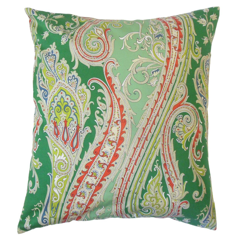 The枕コレクションp18-r0b-funpaisley-billiardgreen-c100 Efharisペイズリー枕、グリーン   B013WWTG5C