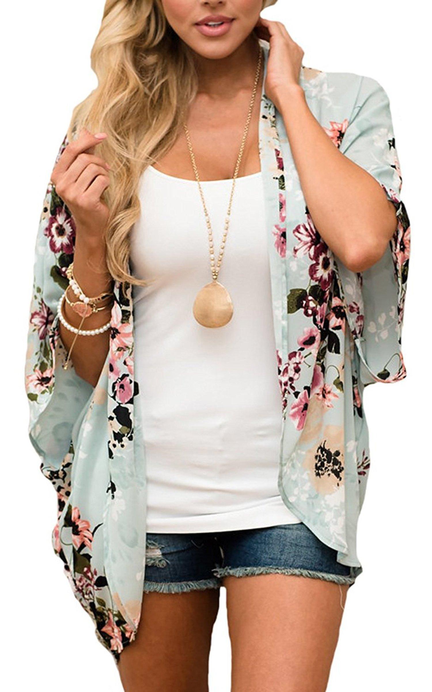 Hibluco Women's Fashion Floral Print Kimono Cardigan Long Tops Loose Cover Ups (Small, K 68)